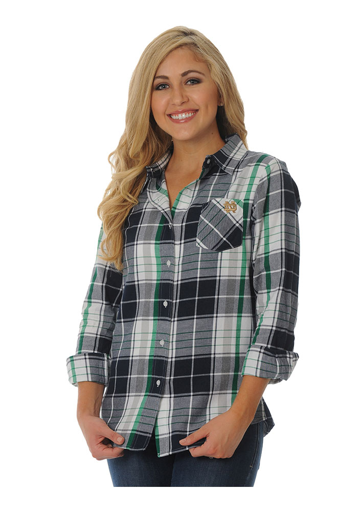 Notre Dame Fighting Irish Womens Boyfriend Plaid Long Sleeve Navy ...