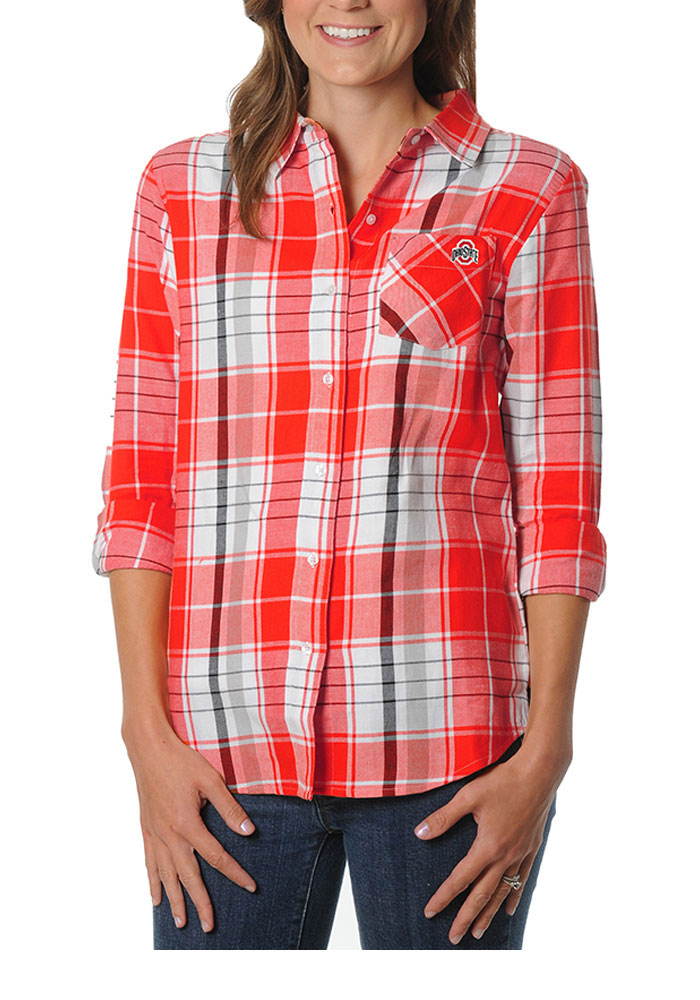 Ohio state buckeyes womens boyfriend plaid long sleeve red Womens red tartan plaid shirt