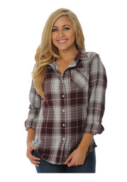 Texas A&M Womens Maroon Boyfriend Plaid Dress Shirt
