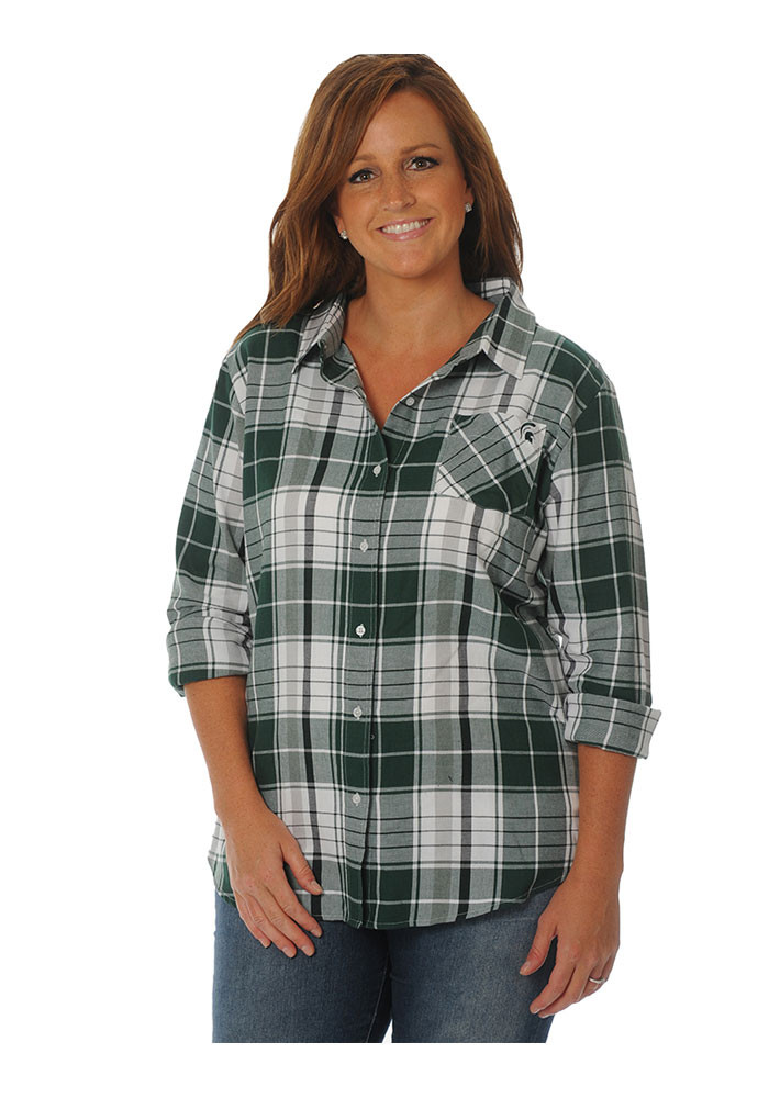 Michigan state spartans womens green boyfriend plaid long for Womens green checked shirt