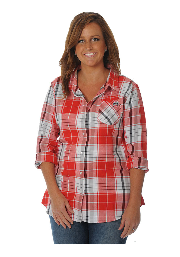 Ohio state buckeyes womens red boyfriend plaid long sleeve Womens red tartan plaid shirt