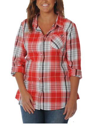 Texas Tech Womens Boyfriend Plaid Red Plus Size T-Shirt