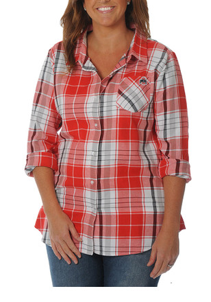 The Ohio State University Womens Red Boyfriend Plaid Dress Shirt