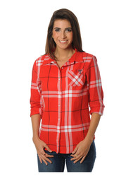 Texas Tech Womens Red Boyfriend Plaid Dress Shirt