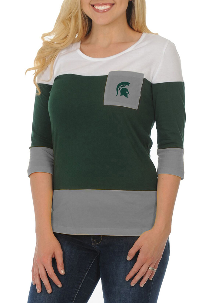 Michigan State Spartans Womens Striped 3/4 Green Scoop Neck Tee
