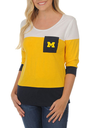 Michigan Wolverines Womens Striped 3/4 Navy Blue Scoop Neck Tee