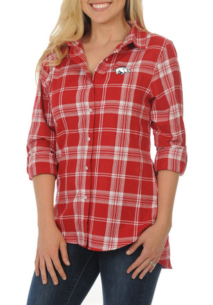 Arkansas Razorbacks Womens Cardinal Boyfriend Plaid Dress Shirt