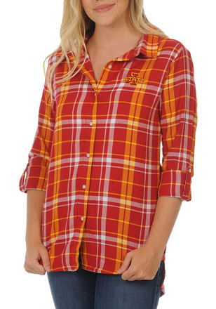 Iowa State Cyclones Womens Cardinal Boyfriend Plaid Dress Shirt