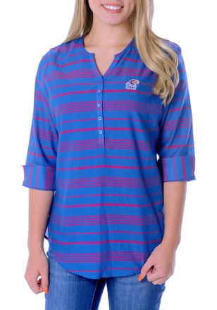 Kansas Jayhawks Womens Blue Stripe Tunic Dress Shirt
