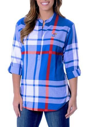 Kansas Jayhawks Womens Blue Plaid Tunic Dress Shirt