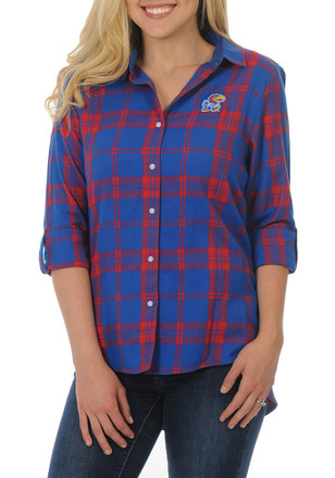 Kansas Jayhawks Womens Blue Boyfriend Plaid Dress Shirt