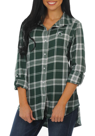 Shop michigan state spartans for Womens green checked shirt