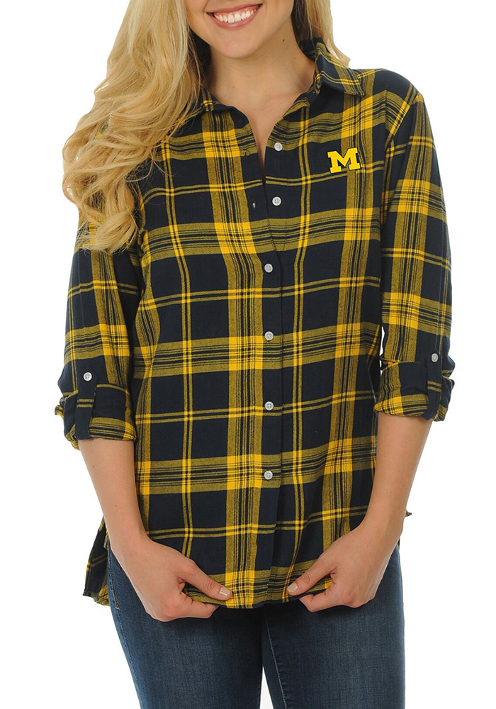 Michigan wolverines womens boyfriend plaid long sleeve for Navy blue checkered dress shirt