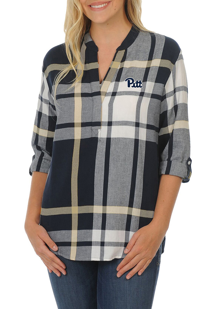 Pitt Panthers Womens Plaid Tunic Long Sleeve Navy Blue Dress Shirt - Image 1