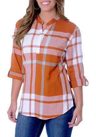 Womens Orange Plaid Tunic Long Sleeve Dress Shirt