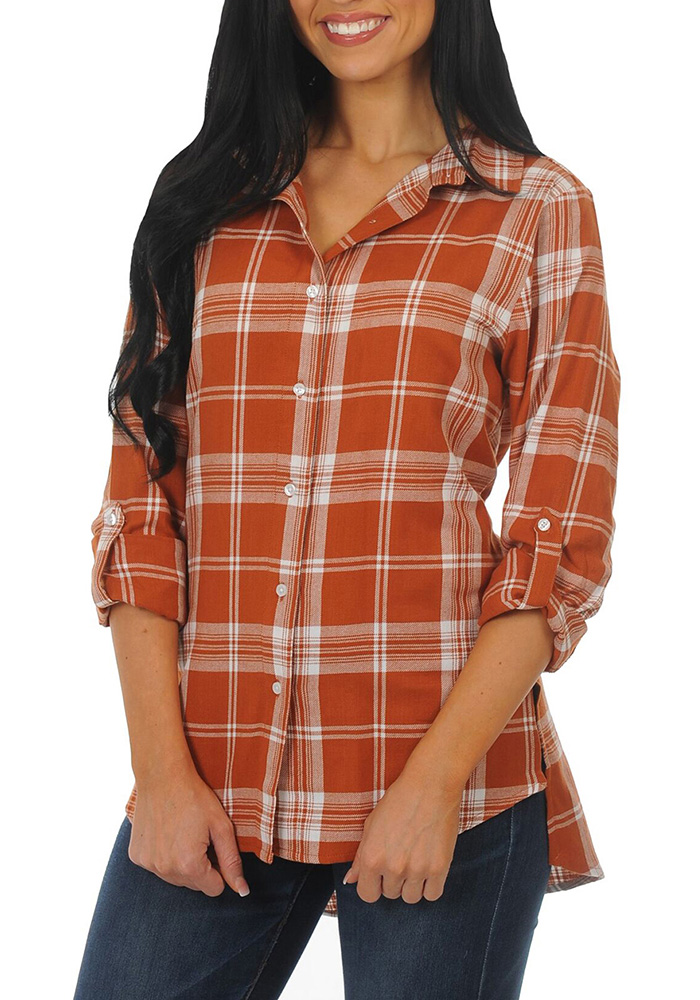 Texas Longhorns Womens Boyfriend Plaid Long Sleeve Burnt Orange Dress Shirt - Image 1
