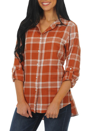Womens Orange Boyfriend Plaid Long Sleeve Dress Shirt