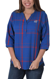 Kansas Jayhawks Womens Plaid Tunic Dress Shirt - Blue