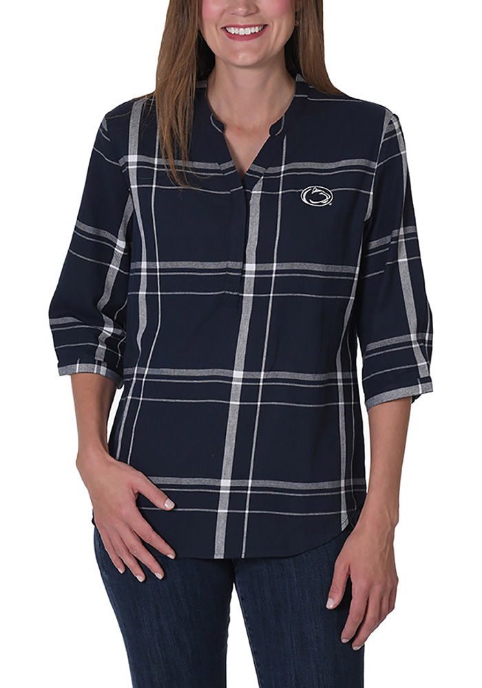 Penn State Nittany Lions Womens Plaid Tunic Long Sleeve Navy Blue Dress Shirt - Image 1