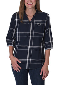 Penn State Nittany Lions Womens Plaid Tunic Dress Shirt - Navy Blue