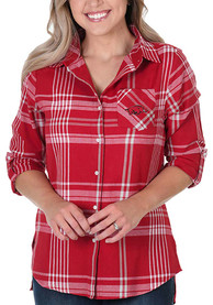 Arkansas Razorbacks Womens Boyfriend Plaid Dress Shirt - Crimson