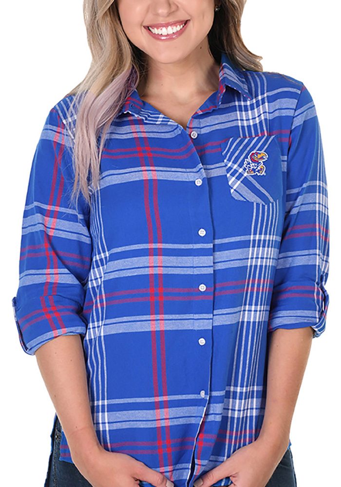 Kansas Jayhawks Womens Boyfriend Plaid Long Sleeve Blue Dress Shirt - Image 1