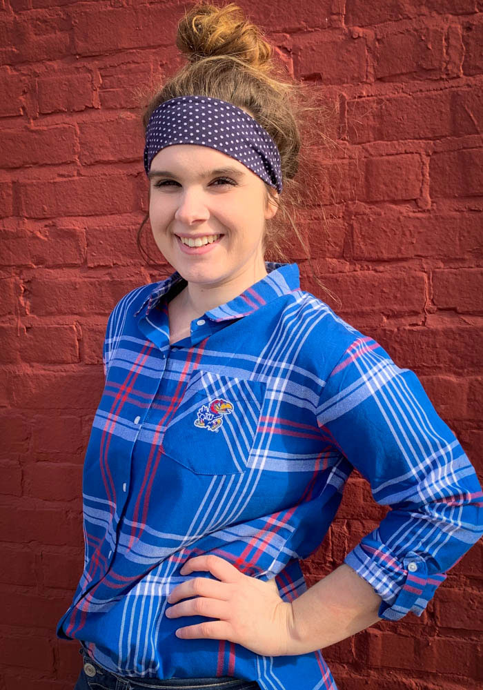 Kansas Jayhawks Womens Boyfriend Plaid Long Sleeve Blue Dress Shirt - Image 2