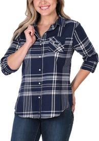 Penn State Nittany Lions Womens Boyfriend Plaid Dress Shirt - Navy Blue