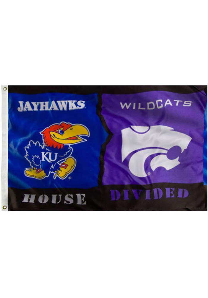 Kansas Jayhawks and K-State Wildcats 3x5 House Divided Blue Silk Screen Grommet Flag