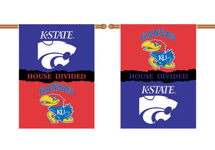 Kansas Jayhawks and K-State Wildcats 28X40 House Divided Banner - Image 1