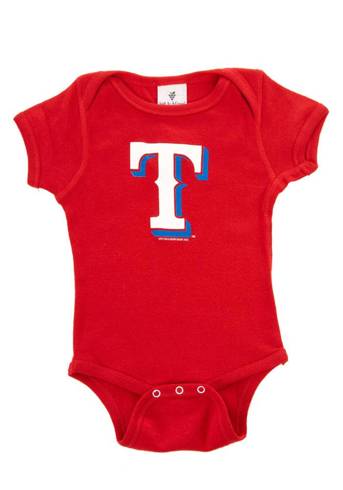 Texas Rangers Baby Red One Piece Short Sleeve Creeper - Image 1