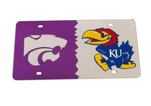 K-State Wildcats Silver House Divided Car Accessory License Plate