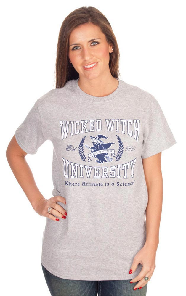 Wizard of Oz Womens Grey Wicked Witch University Short Sleeve T Shirt - Image 1