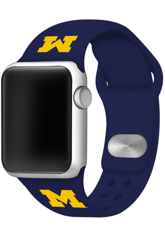 Michigan Wolverines Blue Silicone Sport Apple Watch Band - Image 1