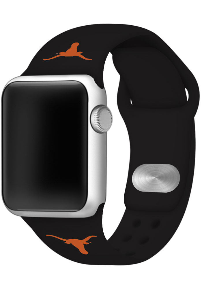Texas Longhorns Black Silicone Sport Apple Watch Band - Image 1
