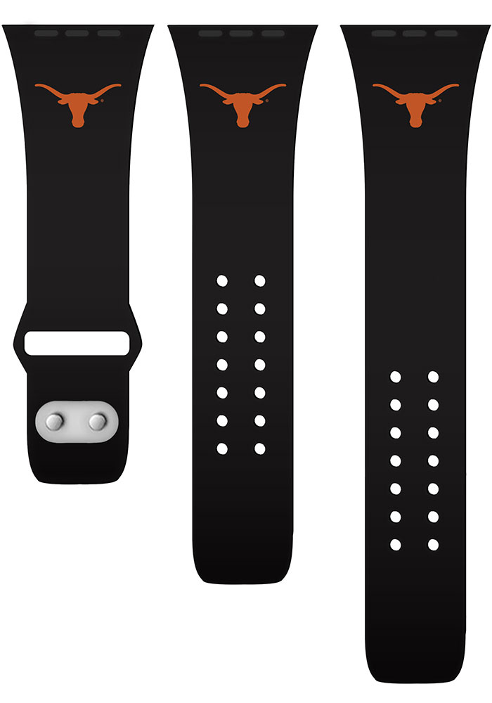 Texas Longhorns Black Silicone Sport Apple Watch Band - Image 2