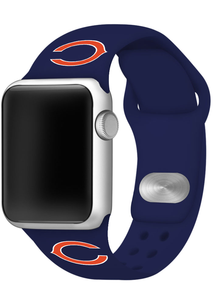 Chicago Bears Navy Blue Silicone Sport Apple Watch Band - Image 1