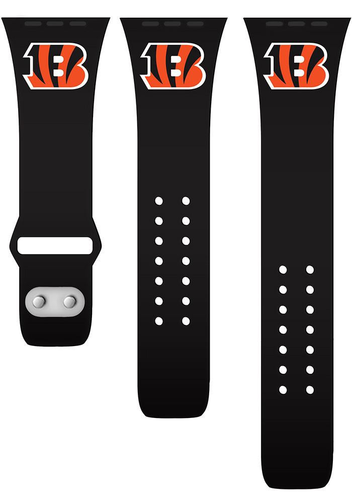 Cincinnati Bengals Black Silicone Sport Apple Watch Band - Image 1