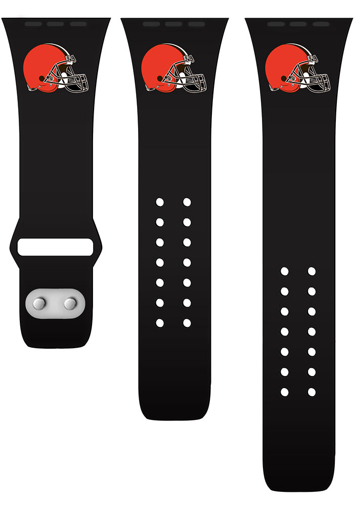 Cleveland Browns Black Silicone Sport Apple Watch Band - Image 2