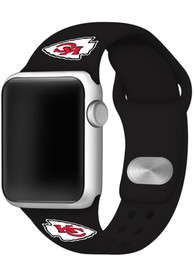 Kansas City Chiefs Silicone Sport Apple Watch Band - Black