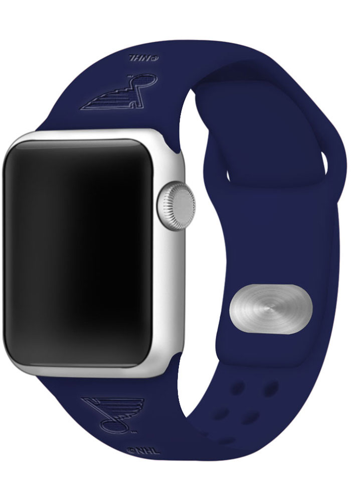 St Louis Blues Navy Blue Silicone Sport Apple Watch Band - Image 1