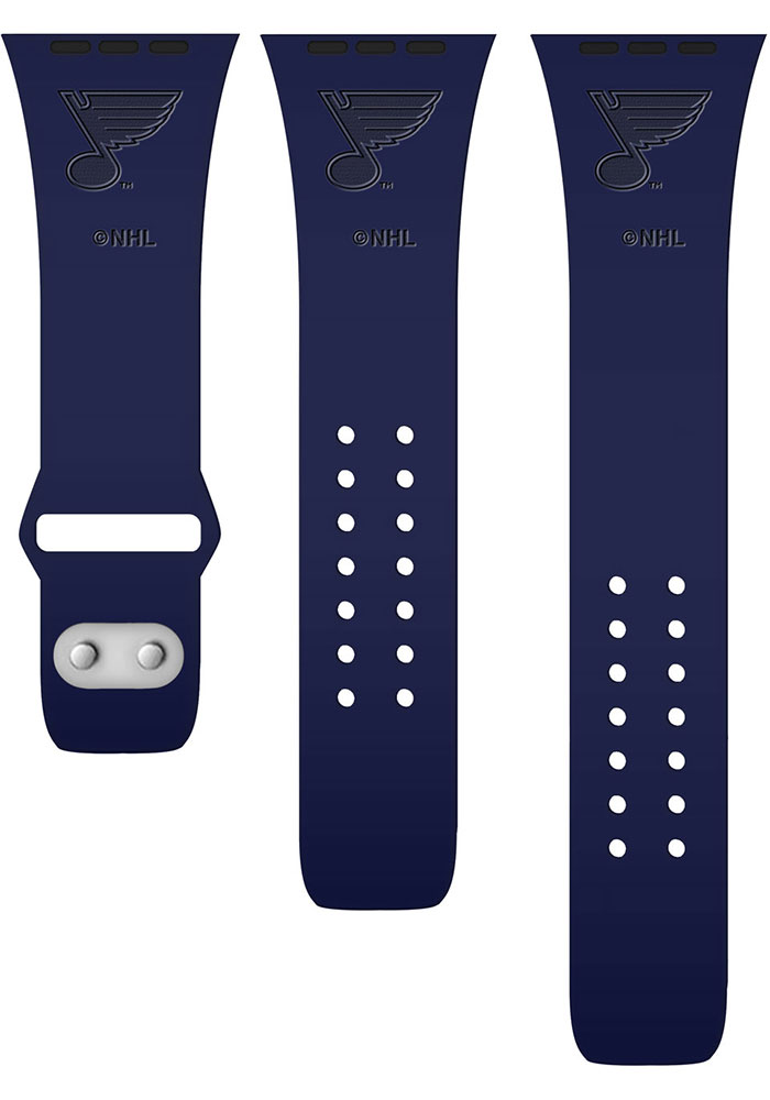 St Louis Blues Navy Blue Silicone Sport Apple Watch Band - Image 2