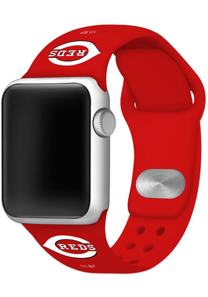 Cincinnati Reds Red Silicone Sport Apple Watch Band - Image 1