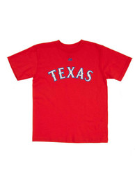 ec69c8783 Majestic Texas Rangers Youth Red Youth Wordmark T-Shirt