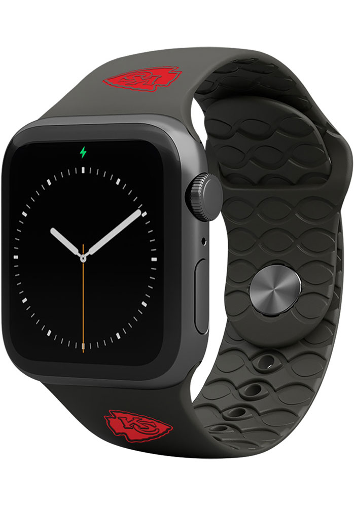 Groove Life Kansas City Chiefs Black 42mm Silicone Apple Watch Band - Image 1