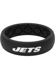 New York Jets Womens Thin Black Silicone Ring - Black