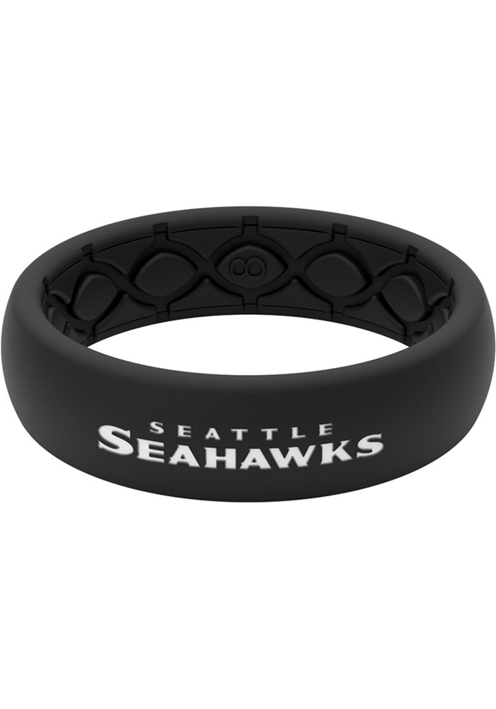 Seattle Seahawks Thin Black Silicone Womens Ring - Image 1