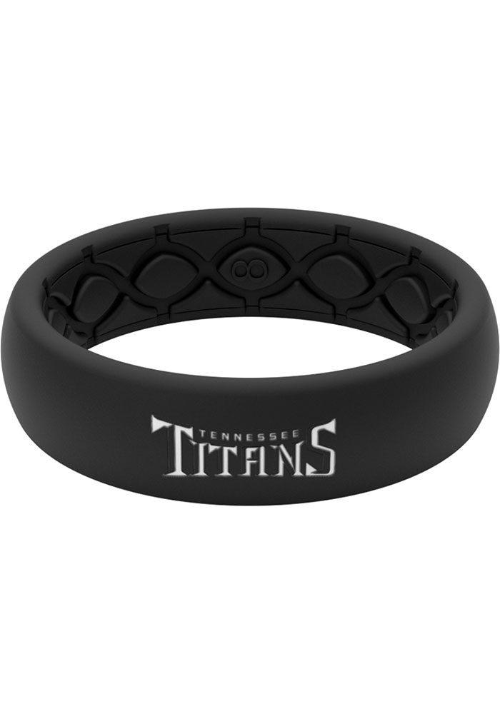 Tennessee Titans Thin Black Silicone Womens Ring - Image 1