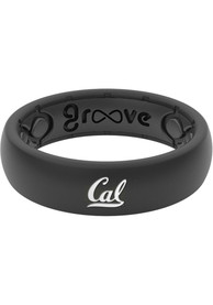 Cal Golden Bears Womens Thin White Logo Silicone Ring - Black