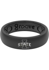 Iowa State Cyclones Womens Thin White Logo Silicone Ring - Black